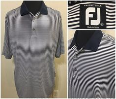 Mens Footjoy Polo Shirt Size XL Navy Blue and White Striped #FootJoy #PoloRugby