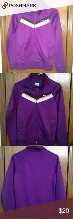 """Youth XL Nike track Jacket Purple with a bit of orange and white Nike youth track jacket.nin perfect condition. It's an XL but fits like an adult small/medium. (I'm 5'3"""", 120 lbs and it fits perfect) Super fun with vintage flair! Nike Jackets & Coats"""