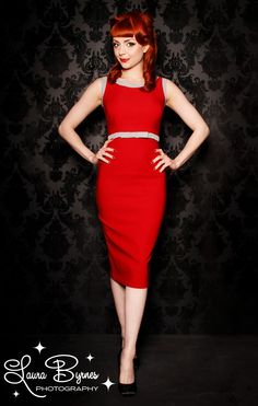 Dayna Dress by Pinup Couture in Red with Grey Trim