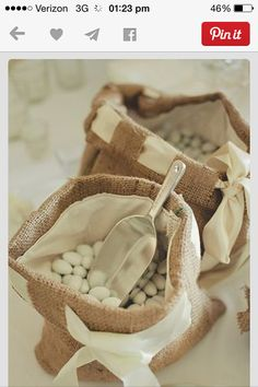 Mint bags made out of burlap