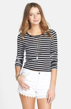 BP. Long Sleeve Crop Tee (Juniors) available at #Nordstrom