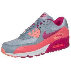 Nike Sportswear AIR MAX 90 Trainers magnet grey/fuchsia frcbright... ($120) ❤ liked on Polyvore