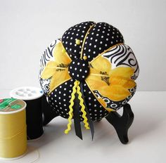 #yellow and #black #pin cushion needle cushion