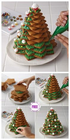 Christmas Recipe D Cookie Christmas Tree Diy Tutorial - Video # weihnachtsrezept d cookie weihnachtsbaum diy tutorial - video # # noël recette d cookie tutoriel diy arbre de noël - vidéo # christmas recipe d cookie christmas tree diy tutorial - video Christmas Deserts, Christmas Tree Cookies, Christmas Gingerbread House, Xmas Cookies, Christmas Goodies, Holiday Desserts, Holiday Baking, Holiday Treats, Christmas Recipes