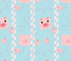 Dancing Pigs on Blue fabric by me-udesign on Spoonflower - custom fabric