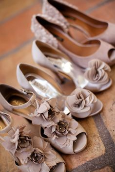 Bridesmaids have not only different dress designs, but have their shoes all of the same color with different designs as well!-Not this color, more of a pale pink, but everyone can pick their own, so it fits their style and height!