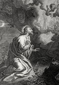 Christ's earthly ministry in the Phillip Medhurst Bible 320 of 550 The agony in the Garden of Gethsemane Matthew 26:36-39 Mariette on Flickr. A print from the Phillip Medhurst Collection at St. George's Court, Kidderminster.