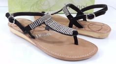 Women's Shoes J.Renee STELLA  Low Wedge T-Strap Sandals Suede Black Size 7.5 #JRenee #TStrap #SpecialOccasion