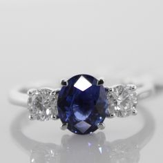 Ceylon Sapphire And Diamond Trilogy Ring €5,995 #Engagement #Jewelry #The #Antiques #Room #Galway #Ireland