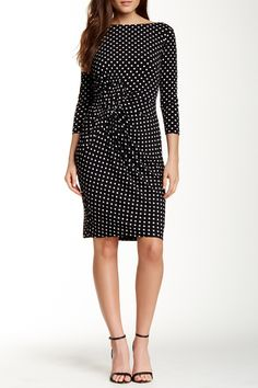 Rouched Front Jersey Dot Dress by Adrianna Papell on @nordstrom_rack