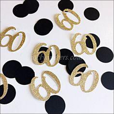 60th Birthday Party Confetti Black And Gold Glitter
