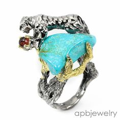 Handmade Fine Art Natural Turquoise 925 Sterling Silver Ring Size 7.5/R34363 #APBJewelry #Ring