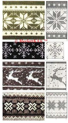 Tina's handicraft : 30 patterns knittin &crochet - fair isle knittings Fair Isle Knitting Patterns, Fair Isle Pattern, Knitting Charts, Knitting Stitches, Knitting Yarn, Double Knitting Patterns, Christmas Knitting Patterns, Knitting Machine, Crochet Chart