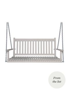Emily's White Porch Swing:  Wooden swing with slatted open design Matte white finish Well-proportioned contoured seats and wide arms Measures 53¼ inches in length by 23½ inches in depth by 23¾ inches in height