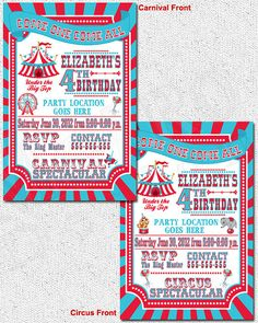 Carnival Party Invitations  Printable File by MetroEvents on Etsy, $7.98