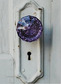 Purple glass doorknob.
