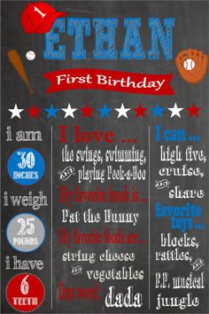 Printable First Birthday Chalkboard Poster