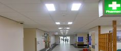 Weston General Hospital using Nova LED ceiling panels showing their flexibility of only having 2 of the 3 light panels illuminated