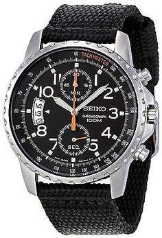 Seiko Men s SNN079P2 Chronograph Stainless Steel Watch With Black Cloth  Band Reloj De Cuerda b78ef1d04e4