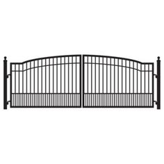 W x 5 ft. H 8 in. Powder Coated Steel Dual Driveway Fence Gate, Black Powder Coated Finish To Ensure Durability For A Long Lasting/Maintenance Free Finish Fence Gate Design, Steel Gate Design, Wrought Iron Gate Designs, Wrought Iron Gates, Metal Gates, Wooden Gates, Metal Fence, Driveway Fence, Driveway Entrance