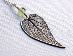 Heart-Shaped Leaf Pendant on a silver chain - listed on Etsy