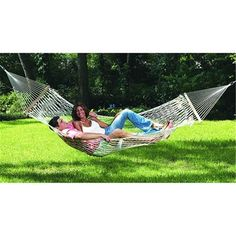 Large enough for two, this Comfortable Large Cotton Rope Hammock with Carry Bag bed made of cool, comfortable, large-diameter cotton ropes. Rope Hammock, Double Hammock, Hammock Stand, Hammocks, Camping Hammock, Adventure Gear, Cotton Rope, How To Make Bed, Bed Sizes