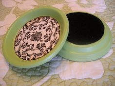 "Coasters made from clay pot bottoms, felt, scrapbook paper and modge pod. Adding to my list of ""to do."""