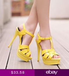 0571c75d30dab 7 Colors Womens High Heel Peeptoe T-strappy Platform Cut Out OL Ladies  Sandals in Clothing