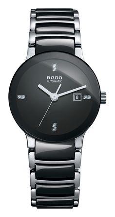 RADO Diamond Centrix Automatic, black high-tech ceramic & st.steel watch. Made in Switzerland. R30942702. Authorized Rado Dealer. Free CDN shipping
