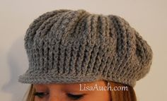 FREE Crochet Hat Pattern for woman Ribbed Cute as a Button ADULT sized Hat with Brim