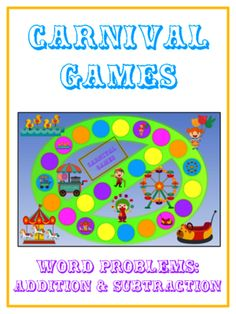 CARNIVAL - Word Problems Adding & Subtracting - Math Folder Game from Lessons For Little Learners on TeachersNotebook.com - (20 pages) - CARNIVAL - Word Problems Adding & Subtracting - Math Folder Game Math Folders, Math Word Problems, Adding And Subtracting, Folder Games, Helping Children, Little Learners, Kids Learning, Carnival, Teacher