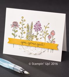 The cards today have been made using a Sale-a-bration stamp set called flowering fields and it's FREE with a £45 order, and it's fab.