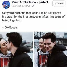Brendon and Sarah Urie of Panic!at the Disco Emo Band Memes, Emo Bands, Music Bands, Pop Punk, Gerard Way, Music Stuff, My Music, Brendon Urie Memes, Thing 1