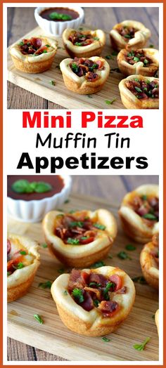 Mini Pizza Muffin Tin Appetizers- These mini pizza muffin tin appetizers are quick and easy to make, but have the flavor of a full-sized pizza! They'd make a good after-school snack, too! | New Year's Eve appetizer, New Year's recipe, party food, after-school snack, finger food, pizza bites, easy recipe Muffin Tin Pizza, Pizza Muffins, Muffin Tins, New Year's Eve Appetizers, Yummy Appetizers, Appetizer Recipes, Appetizer Party, Dip Recipes, Great Recipes