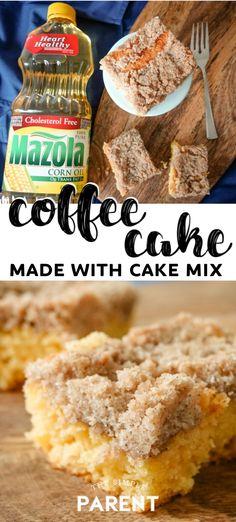Cake Mix Coffee Cake - All the Dessert Recipes - Kuchen Cake Mix Coffee Cake, Sour Cream Coffee Cake, Cream Cake, Breakfast Cake, Breakfast Recipes, Breakfast Ideas, Morning Breakfast, Breakfast Muffins, Christmas Breakfast