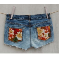 Image of Bleached Denim Shorts with pocket detail