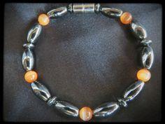Orange Decorative Beads Single Magnetic Bracelet $14.00