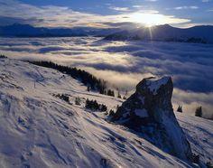 Lenzerheide van bovenaf in de wolken