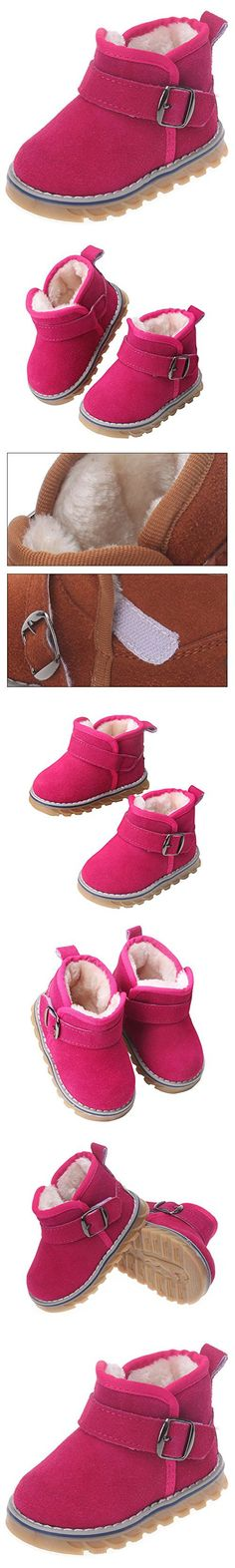 Femizee Newborn Toddler Baby Boy Girl Suede Leather Warm Fur Winter Snow Boot Infant Velcro First Walking Shoes,Hot Pink,3 M US Toddler