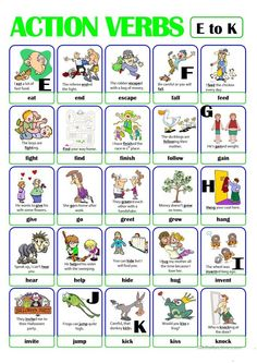 This is the second worksheet of the ACTION VERB set. It includes verbs from e) to k). There is always a picture and an example sentence to help make the meaning clearer. English Verbs, English Vocabulary, English Grammar, Teaching English, Verbs For Kids, Grammar For Kids, English Lessons, Learn English, Action Verbs