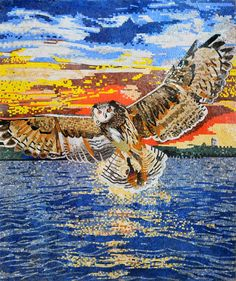 Owl Flying Sunset Marble Mosaic Mural