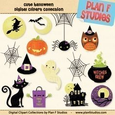 Cute Halloween Clipart Collection for Scrapbooking and Paper Craft Projects - INSTANT DOWNLOAD by planfstudios on Etsy https://www.etsy.com/listing/57867791/cute-halloween-clipart-collection-for