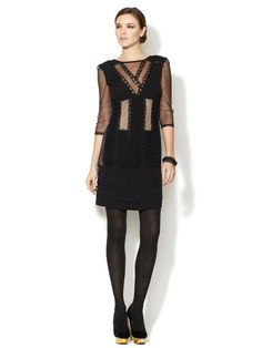 Silk Pintucked Lace Dress by Catherine Malandrino on Gilt.com
