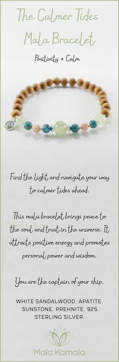 Pin To Save, Tap To Shop! The Calmer Tides Mala Bracelet for positivity and calm. With white sandalwood, apatite, sunstone, prehnite and 925 sterling silver. Mala Kamala Mala Beads - Malas, Mala Beads, Mala Bracelets, Tiny Intentions, Baby Necklaces, Yoga Jewelry, Meditation Jewelry, Baltic Amber Necklaces, Gemstone Jewelry, Chakra Healing and Crystal Healing Jewelry, Mala Necklaces, Prayer Beads, Sacred Jewelry, Bohemian Boho Jewelry, Childrens and Babies Jewelry.