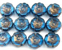 12mm Indicolite Blue Pansy flower bead, Bronze Luster, Czech glass fire polished Flowers, table cut Daisy, floral beads - 6pc - 2135 by MayaHoney on Etsy