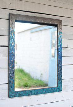 Custom teal mosaic mirror by Phoenix Handcraft