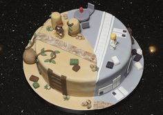 Half Lego Indiana Jones, half Lego Star Wars cake. 100% awesome.