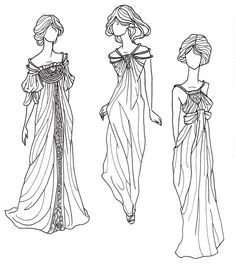Art Nouveau dresses with Alphonse Mucha inspired accents by GlendaGoodwitch on DeviantArt.
