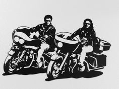 Motorcycle Riding Couple  Metal Wall Art by SunsetMetalworks