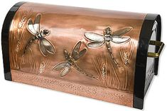 Greg Hentzi Designs: Copper Rugged Rural Locking Post Mount Mailbox - Dragonfly in Wheat Rural Mailbox, Mailbox Ideas, Copper Mailbox, Residential Mailboxes, Dragonfly Decor, Vases, Mounted Mailbox, Inspired Homes, Yard Art